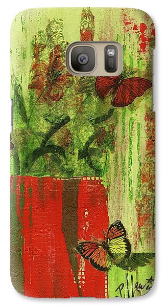 Galaxy Case featuring the mixed media Flowers,butteriflies, And Vase by P J Lewis