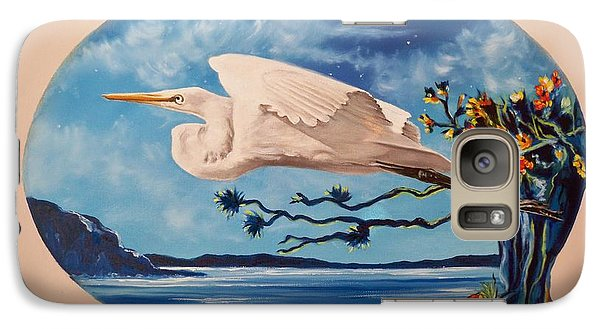 Galaxy Case featuring the painting Flying Egret by Sigrid Tune