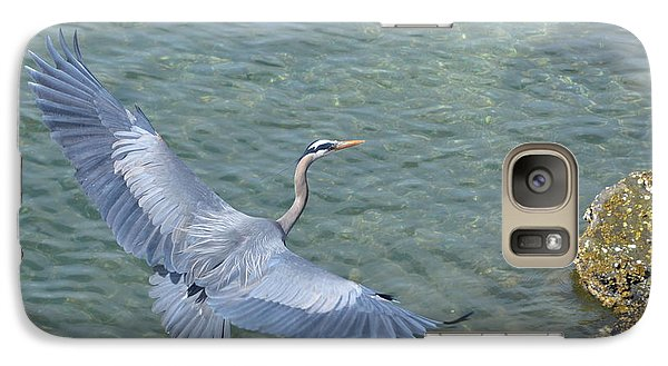 Galaxy Case featuring the photograph Flying Heron by Jerry Cahill
