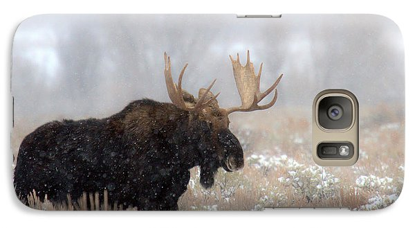 Galaxy Case featuring the photograph Foggy Moose Silhouette by Adam Jewell