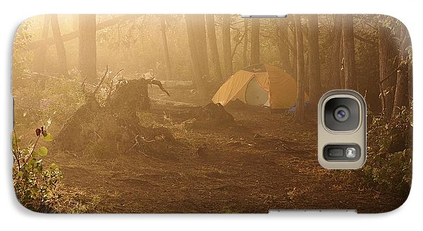 Galaxy Case featuring the photograph Foggy Morning At The Campsite by Larry Ricker