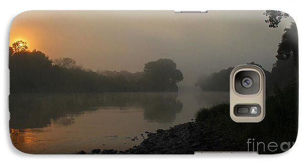 Galaxy Case featuring the photograph Foggy Morning Red River Of The North by Steve Augustin
