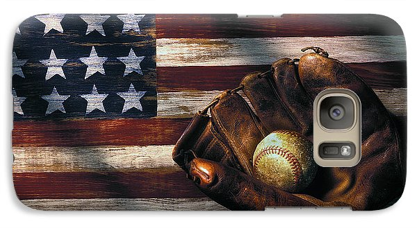 Folk Art American Flag And Baseball Mitt Galaxy S7 Case