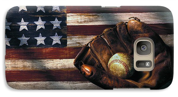 Folk Art American Flag And Baseball Mitt Galaxy S7 Case by Garry Gay