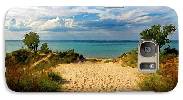 Galaxy Case featuring the painting Footprints In The Sand P D P by David Dehner