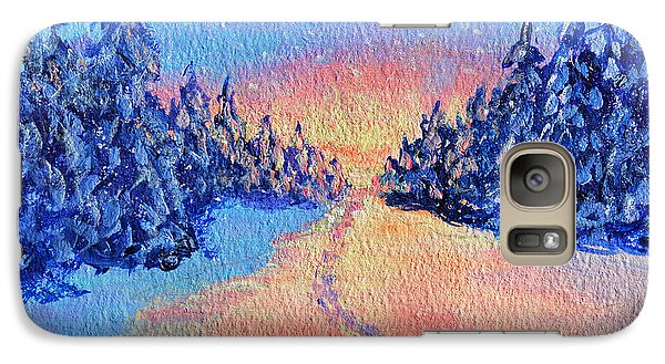 Galaxy Case featuring the painting Footprints In The Snow by Li Newton