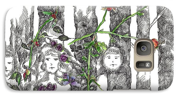 Galaxy Case featuring the drawing Forest Faces by Cathie Richardson