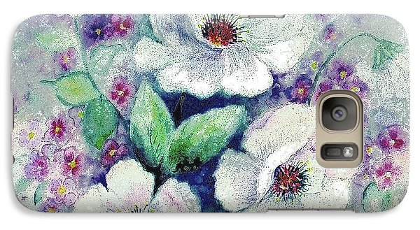 Galaxy Case featuring the painting Forget-me-knots And Roses by Hazel Holland