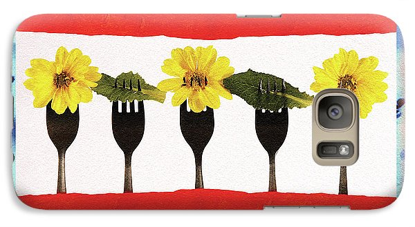 Galaxy Case featuring the digital art Forks And Flowers by Paula Ayers