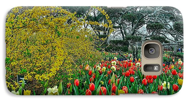 Galaxy Case featuring the photograph Forsythia Tulips And Daffadils by Diana Mary Sharpton