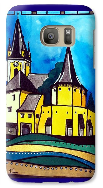 Galaxy Case featuring the painting Fortified Medieval Church In Transylvania By Dora Hathazi Mendes by Dora Hathazi Mendes