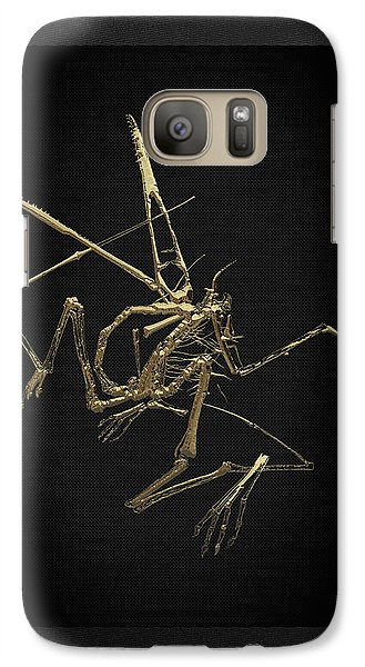 Galaxy Case featuring the digital art Fossil Record - Gold Pterodactyl Fossil On Black Canvas #1 by Serge Averbukh