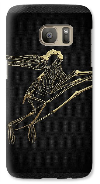 Galaxy Case featuring the digital art Fossil Record - Gold Pterodactyl Fossil On Black Canvas #2 by Serge Averbukh
