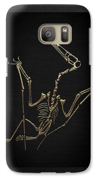 Galaxy Case featuring the digital art Fossil Record - Gold Pterodactyl Fossil On Black Canvas #4 by Serge Averbukh