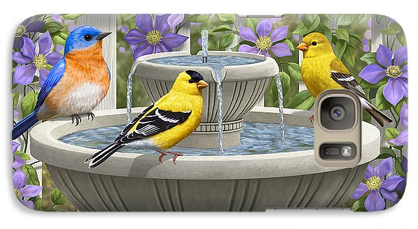 Fountain Festivities - Birds And Birdbath Painting Galaxy Case by Crista Forest