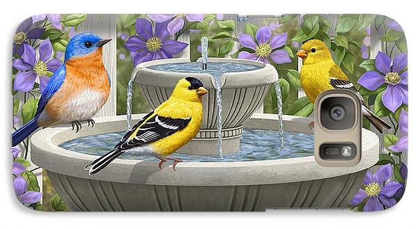 Fountain Festivities - Birds And Birdbath Painting Galaxy S7 Case by Crista Forest