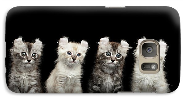 Four American Curl Kittens With Twisted Ears Isolated Black Background Galaxy S7 Case