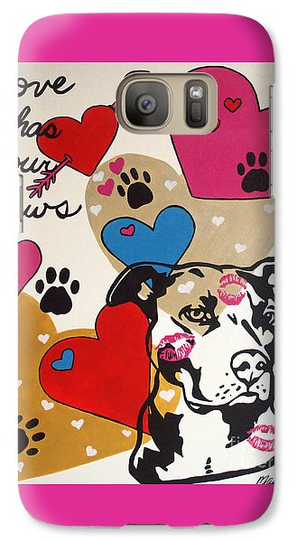 Galaxy Case featuring the painting Four Pitty Paws by Melissa Goodrich