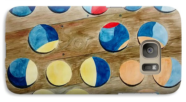 Galaxy Case featuring the painting Four Rows Of Circles On Wood by Andrew Gillette