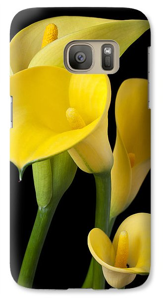 Lily Galaxy S7 Case - Four Yellow Calla Lilies by Garry Gay