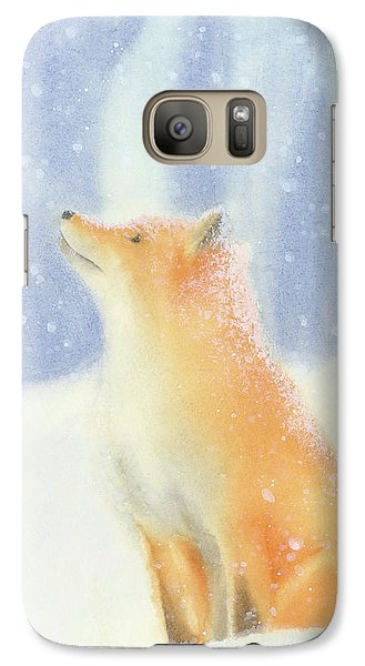 Galaxy Case featuring the painting Fox In The Snow by Taylan Apukovska