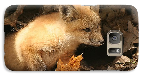 Galaxy Case featuring the photograph Fox Kit At Entrance To Den by Doris Potter
