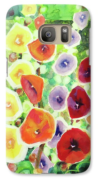 Galaxy Case featuring the painting Framed In Hollyhocks by Kathy Braud