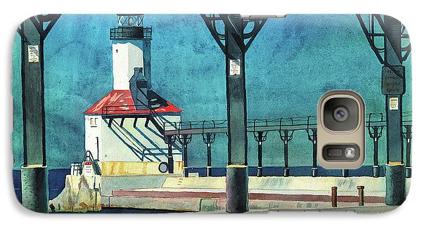 Galaxy Case featuring the painting Framed Lighthouse by LeAnne Sowa