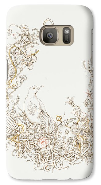 Galaxy Case featuring the drawing Freedom Cage by Karen Robey