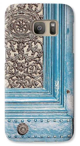 Galaxy Case featuring the photograph French Blue - Paris Door by Melanie Alexandra Price