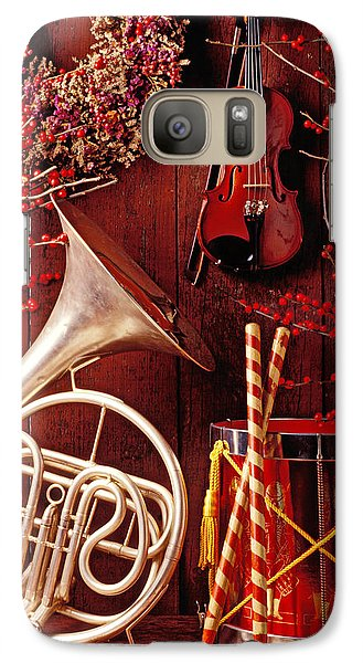 Drum Galaxy S7 Case - French Horn Christmas Still Life by Garry Gay