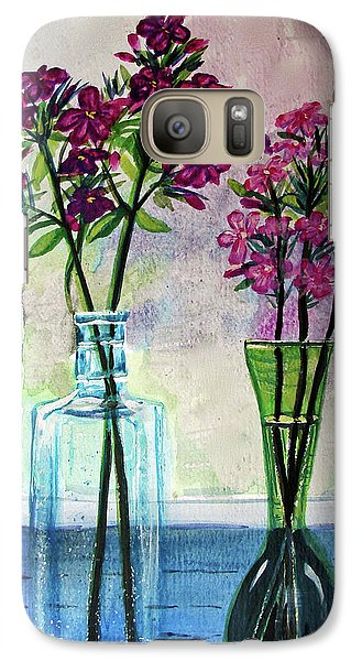 Galaxy Case featuring the painting Fresh Cut Flowers In The Window by Patricia L Davidson