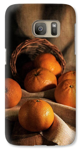 Galaxy Case featuring the photograph Fresh Tangerines In Brown Basket by Jaroslaw Blaminsky