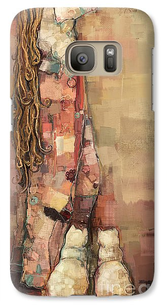 Galaxy Case featuring the painting Freyja And Her Cats by Carrie Joy Byrnes