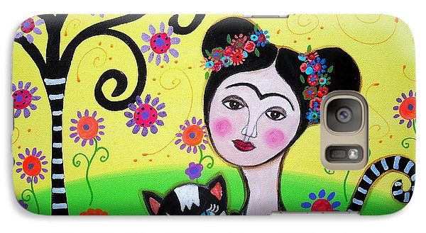 Galaxy Case featuring the painting Frida With Her Cat by Pristine Cartera Turkus
