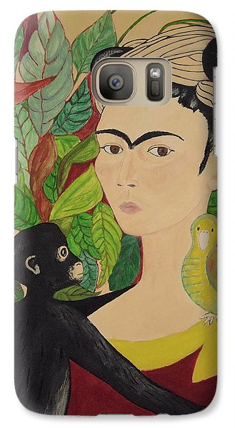 Galaxy Case featuring the painting Frida With Monkey And Bird by Stephanie Moore