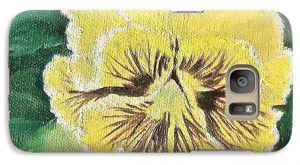 Galaxy Case featuring the painting Frilly Yellow Pansy by Bonnie Heather