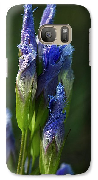 Galaxy Case featuring the photograph Fringed Getian With Dew by Ann Bridges