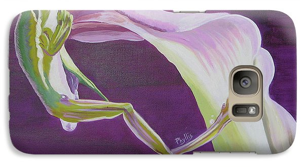 Galaxy Case featuring the painting Frog And His Flower by Phyllis Kaltenbach