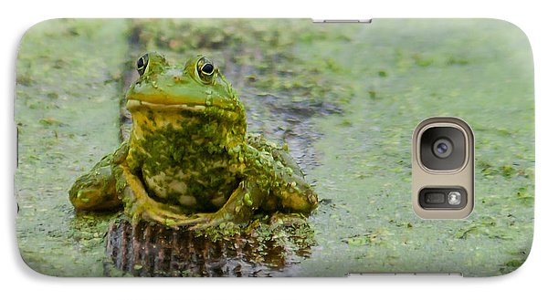 Galaxy Case featuring the photograph Frog On A Plank by Edward Peterson