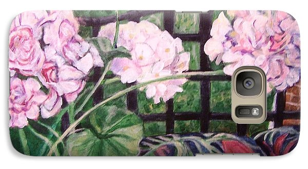Galaxy Case featuring the painting Front Porch Flowers by Laura Aceto