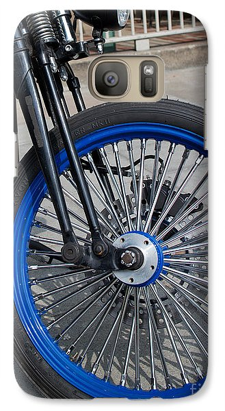 Galaxy Case featuring the photograph Front Wheel With Blue Rims And Fat Chrome Spokes Of Vintage Styl by Jason Rosette