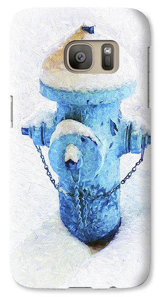 Galaxy Case featuring the photograph Frozen Blue Fire Hydrant by Andee Design