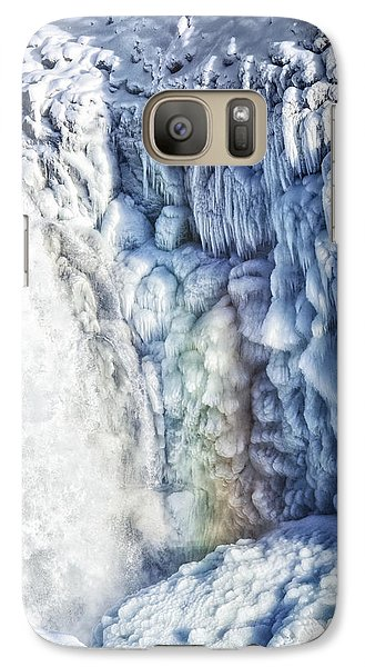 Galaxy Case featuring the photograph Frozen Waterfall Gullfoss Iceland by Matthias Hauser
