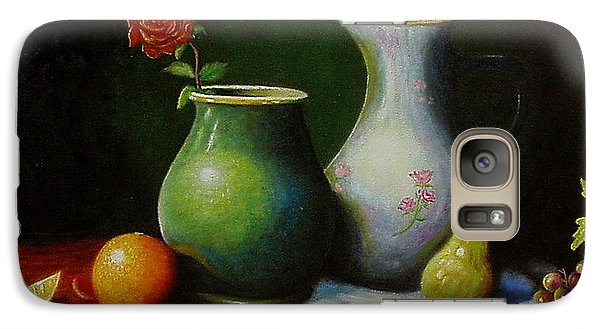 Galaxy Case featuring the painting Fruit And Pots. by Gene Gregory