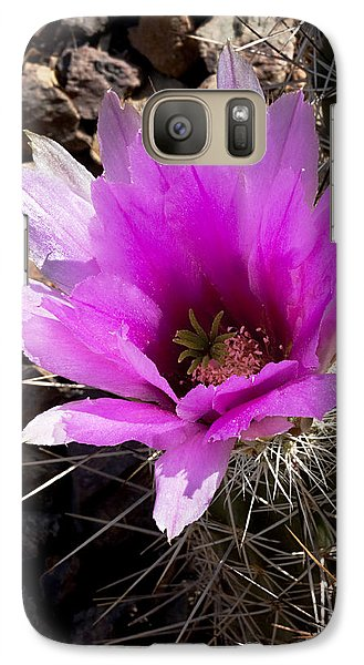 Galaxy Case featuring the photograph Fuchsia Cactus Blossom by Phyllis Denton