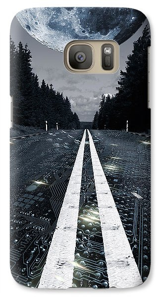 Galaxy Case featuring the photograph Full Moon And Digital Highqay by Christian Lagereek