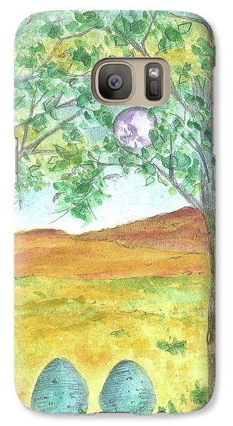 Galaxy Case featuring the drawing Full Moon And Robin Eggs by Cathie Richardson