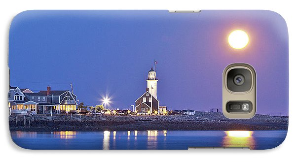 Galaxy Case featuring the photograph Full Moon Over Scituate Light by Susan Cole Kelly