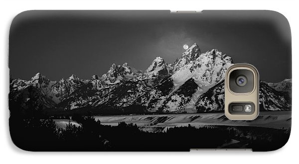 Full Moon Sets In The Tetons Galaxy S7 Case